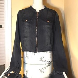Boom Boom Jeans Distressed Black Jean Jacket